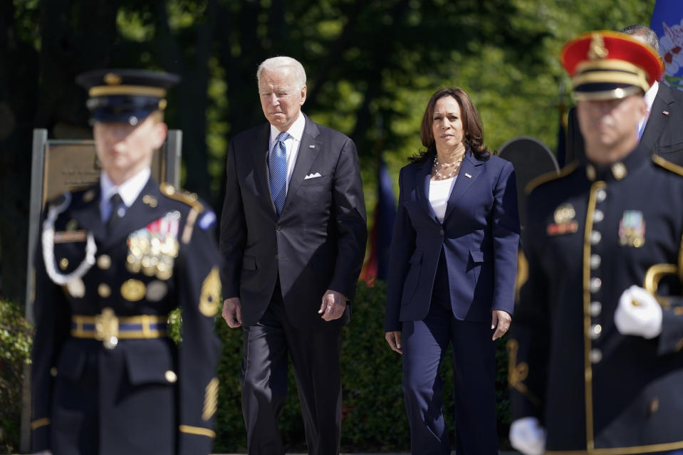 President Joe Biden arrives with Vice President Kamala Harris to place a wreath at the Tomb of the Unknown Soldier at Arlington National Cemetery on Memorial Day, Monday, May 31, 2021, in Arlington, Va.(AP Photo/Alex Brandon)