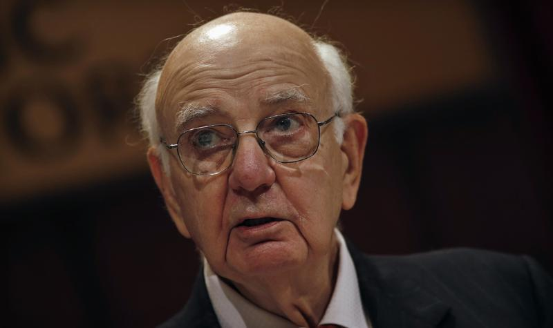 Former Chairman of the U.S. Federal Reserve Volcker addresses the Economic Club of New York