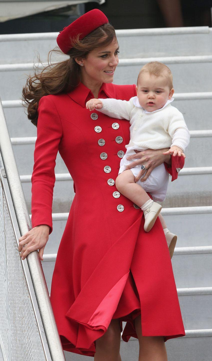 <p>Hello, Jackie-O! Middleton stepped off the plane in New Zealand with Prince George. The family embarked on a three-week royal tour of New Zealand and Australia, including visits to organizations and sightseeing.</p>