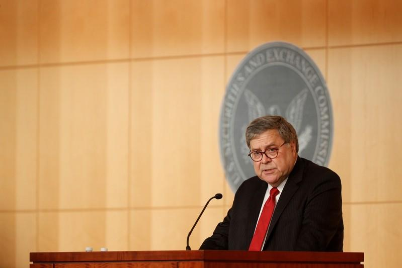 FILE PHOTO: U.S. Attorney General William Barr delivers remarks at the Securities and Exchange Commission