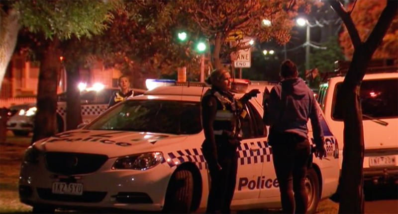 VIC police attend the scene at a Melbourne park where a woman was sexually assaulted.