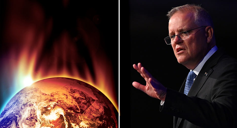 Right - a burning globe of the Earth. Right - Scott Morrison with his hand out