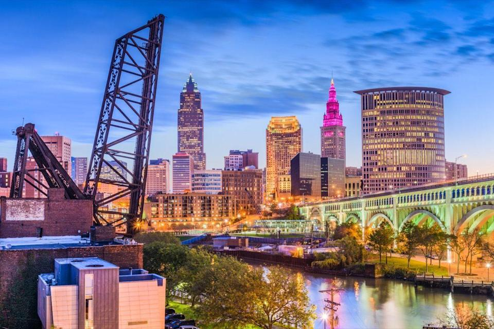 Cleveland, Ohio, USA downtown skyline on the river.