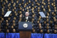 South Carolina Gov. Henry McMaster speaks ahead of a speech by Vice President Mike Pence on Thursday, Feb. 13, 2020, at The Citadel in Charleston, S.C. (AP Photo/Meg Kinnard
