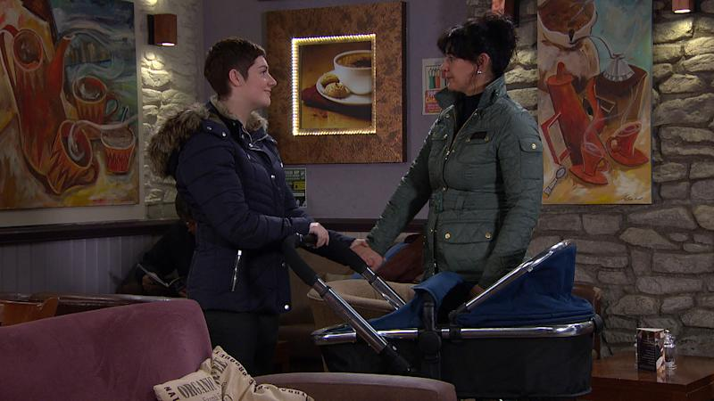 Moira Dingle [NATALIE J ROBB] is made up when Victoria Sugden [ISOBEL HODGINS] asks her to be Harry's godfather. (ITV Plc)