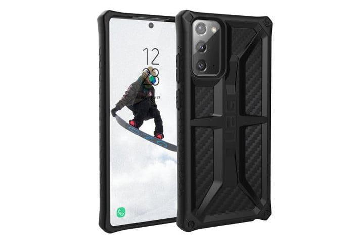 Photo shows the front and back view of a Samsung Galaxy Note 20 in a Monarch carbon fiber case from Urban Armor Gear in black