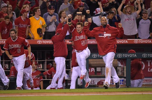Los Angeles Angels team members celebrate after Collin Cowgill hit a home run to win the game in the 14th inning of a baseball game against the Oakland Athletics, Tuesday, June 10, 2014, in Anaheim, Calif. (AP Photo/Mark J. Terrill)