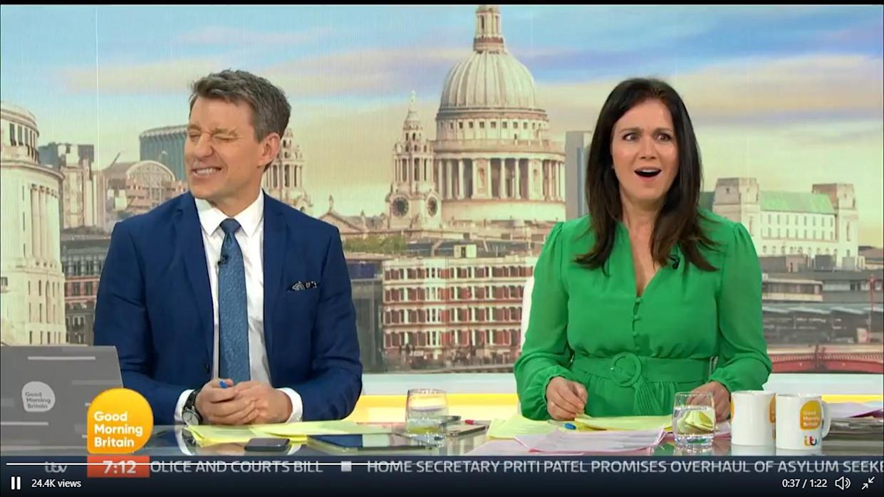 Ben Shephard was left cringing and Susanna Reid was shocked by his nipple comment. (ITV)