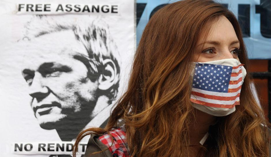 A protester of Julian Assange outside the Ecuadorian Embassy in London in 2012