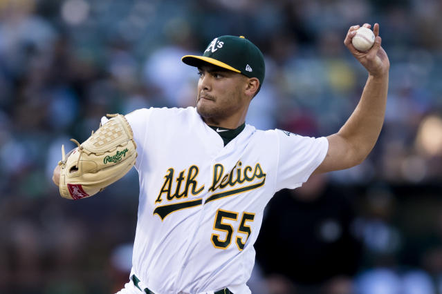 Oakland Athletics starting pitcher Sean Manaea threw the season's first no-hitter against the Boston Red Sox. (AP)