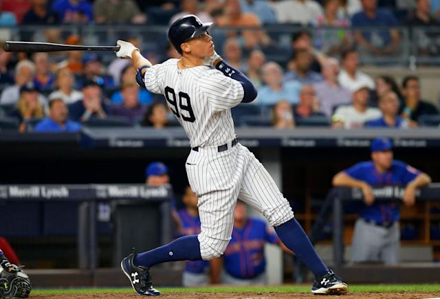 <p>NEW YORK, NY – AUGUST 14: Aaron Judge #99 of the New York Yankees follows through on a sixth inning home run against the New York Mets at Yankee Stadium on August 14, 2017 in the Bronx borough of New York City. (Photo by Jim McIsaac/Getty Images) </p>