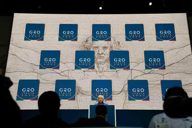 United States secretary of the treasury Janet Yellen speaks during a press conference at a G20 economy and finance ministers and central bank governors' meeting in Venice, Italy