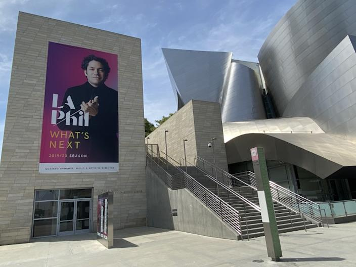 "A ""What's Next"" banner with Gustavo Dudamel at Walt Disney Concert Hall. <span class=""copyright"">(Mark Swed/Los Angeles Times)</span>"