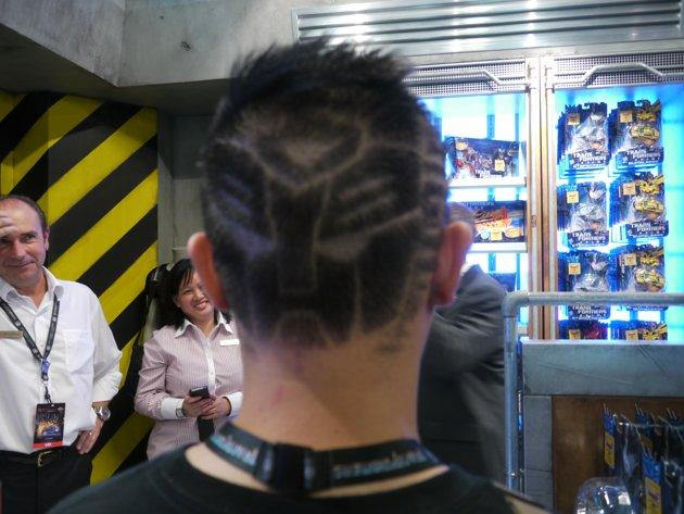 "23-year-old Malcolm Chen shows off his Autobot hairstyle that won him first place in a USS-organised competition for ""Transformers: The Ride"". (Yahoo! photo/Fann Sim)"