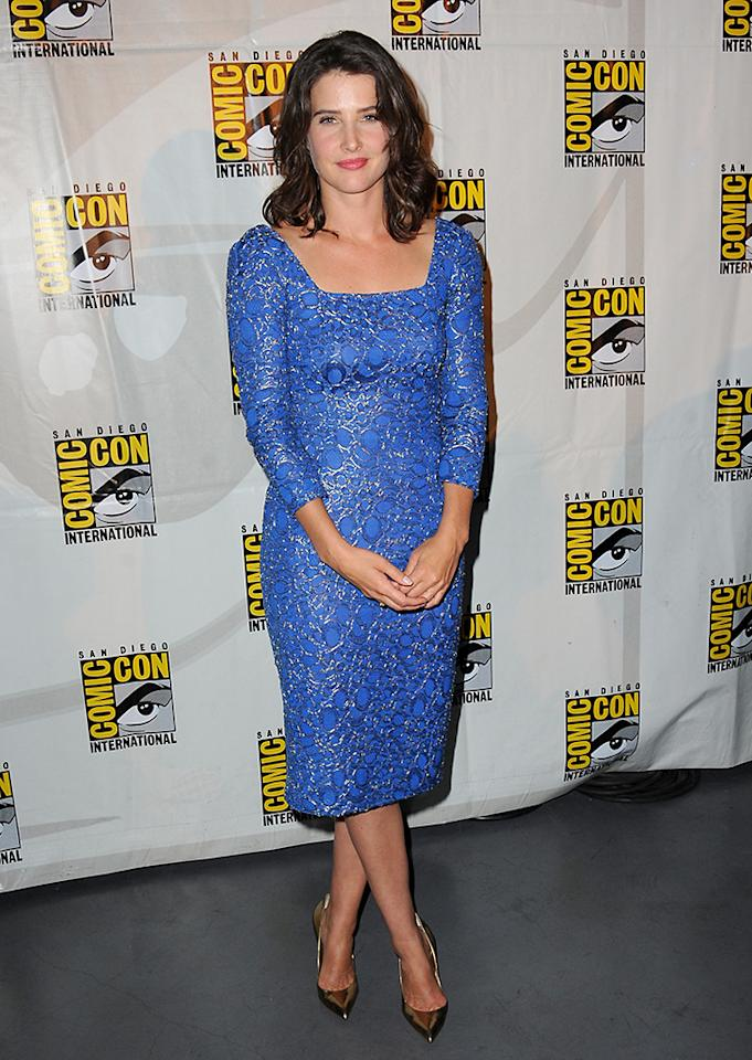 """SAN DIEGO, CA - JULY 20:  Actress Cobie Smulders poses backstage at Marvel Studios """"Thor: The Dark World"""" and """"Captain America: The Winter Soldier"""" during Comic-Con International 2013 at San Diego Convention Center on July 20, 2013 in San Diego, California.  (Photo by Albert L. Ortega/Getty Images)"""