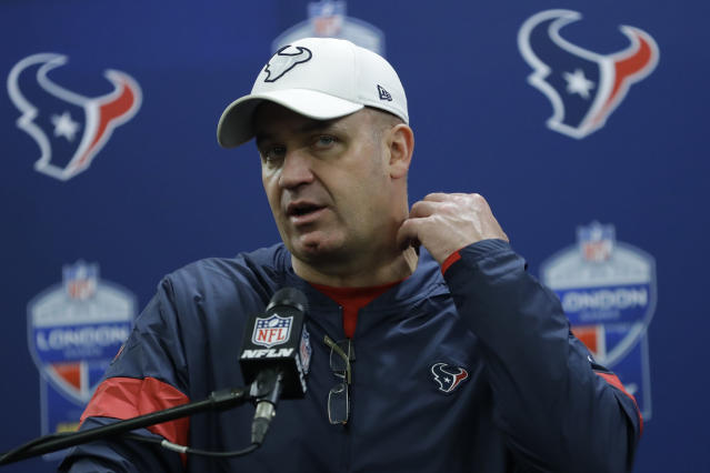 Houston Texans head coach Bill O'Brien has been criticized for his trade with the Cardinals. (AP Photo/Kirsty Wigglesworth)