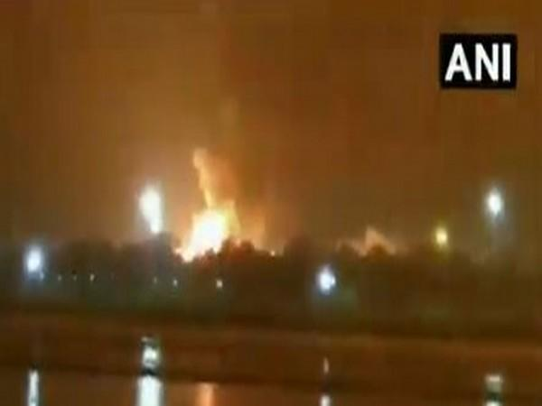 Fire broke out at an Oil and Natural Gas Corporation (ONGC) plant in Surat. Photo/ANI