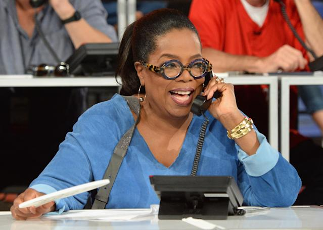 Oprah Winfrey making calls for hurricane relief in September 2017. (Photo: Getty Images)
