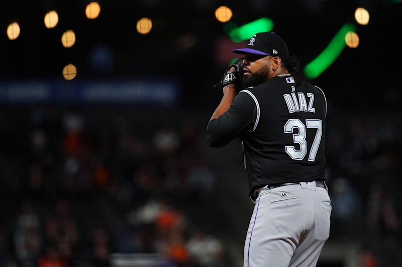 Jairo Diaz #37 of the Colorado Rockies pitches during the game against the San Francisco Giants