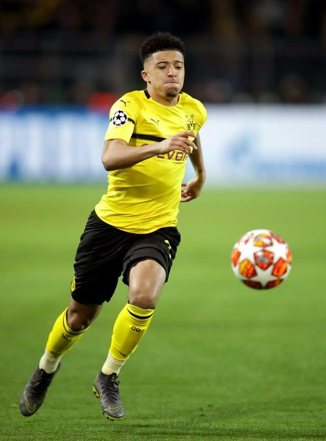 Borussia Dortmund's Jadon Sancho's potential move to Manchester United is hitting money troubles (Adam Davy/PA)