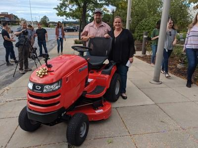 Briggs & Stratton surprised the couple with a brand new, limited edition Simplicity Broadmoor tractor.