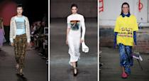 """<p>Let your wardrobe do the talking this season and invest in some slogan-emblazoned gear. Over at House of Holland, models stepped out in neon-hued get-ups stamped with the retro wording: """"Out of Order"""". Meanwhile, Ashley Williams brought back her now-famous wordy barrettes and punchy tees – but this time, cardigans also made an appearance. <em>[Photo: Getty]</em> </p>"""