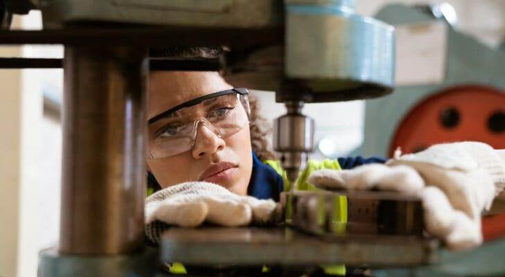 A female factory worker
