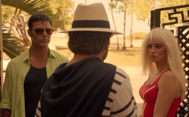 Ricky Martin as Antonio D'Amico, Edgar Ramirez as Gianni Versace, and Penelope Cruz as Donatella Versace in  <em>The Assassination of Gianni Versace</em>. (Photo: FX)