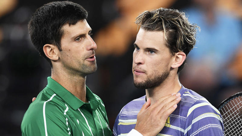 Dominic Thiem (pictured right) congratulating Novak Djokovic (pictured left) after the Australian Open.