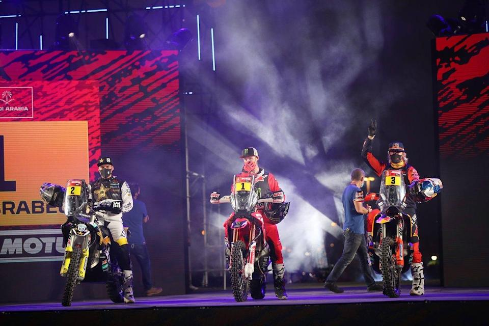 "#2 Rockstar Energy Husqvarna Factory Racing: Pablo Quintanilla, #1 Monster Energy Honda Team: Ricky Brabec, #3 Red Bull KTM Factory Racing: Toby Price<span class=""copyright"">A.S.O. </span>"