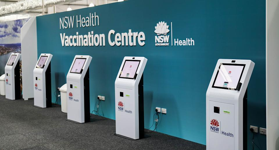 A supplied image obtained on Monday, July 19, 2021, shows inside the newly opened mass vaccination centre in Belmont, Lake Macquarie. The mass vaccination centre in Belmont, Lake Macquarie. Source: AAP