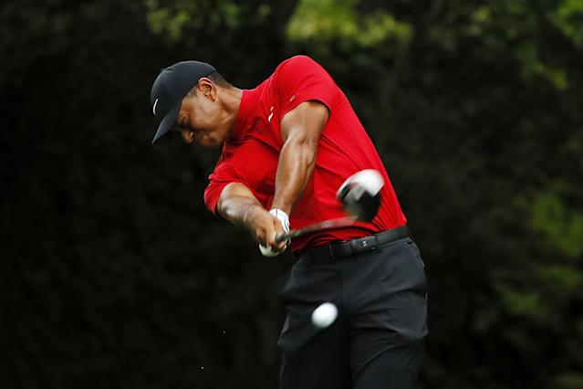 "<h1 class=""title"">The Masters - Final Round</h1> <div class=""caption""> AUGUSTA, GEORGIA - APRIL 14: Tiger Woods of the United States plays his shot from the second tee during the final round of the Masters at Augusta National Golf Club on April 14, 2019 in Augusta, Georgia. (Photo by Kevin C. Cox/Getty Images) </div> <cite class=""credit"">Kevin C. Cox</cite>"