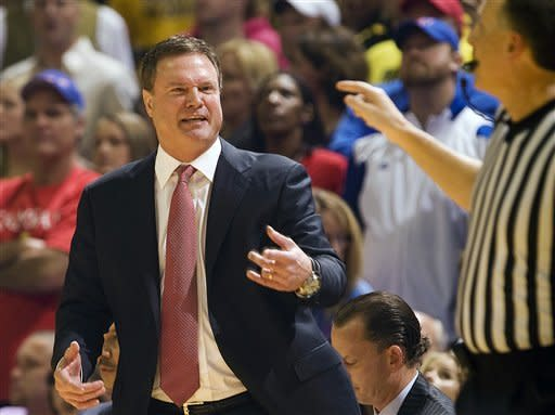 Kansas head coach Bill Self argues a call during the first half of an NCAA college basketball game against Missouri Saturday, Feb. 4, 2012, in Columbia, Mo. Missouri won the game 74-71. (AP Photo/L.G. Patterson)