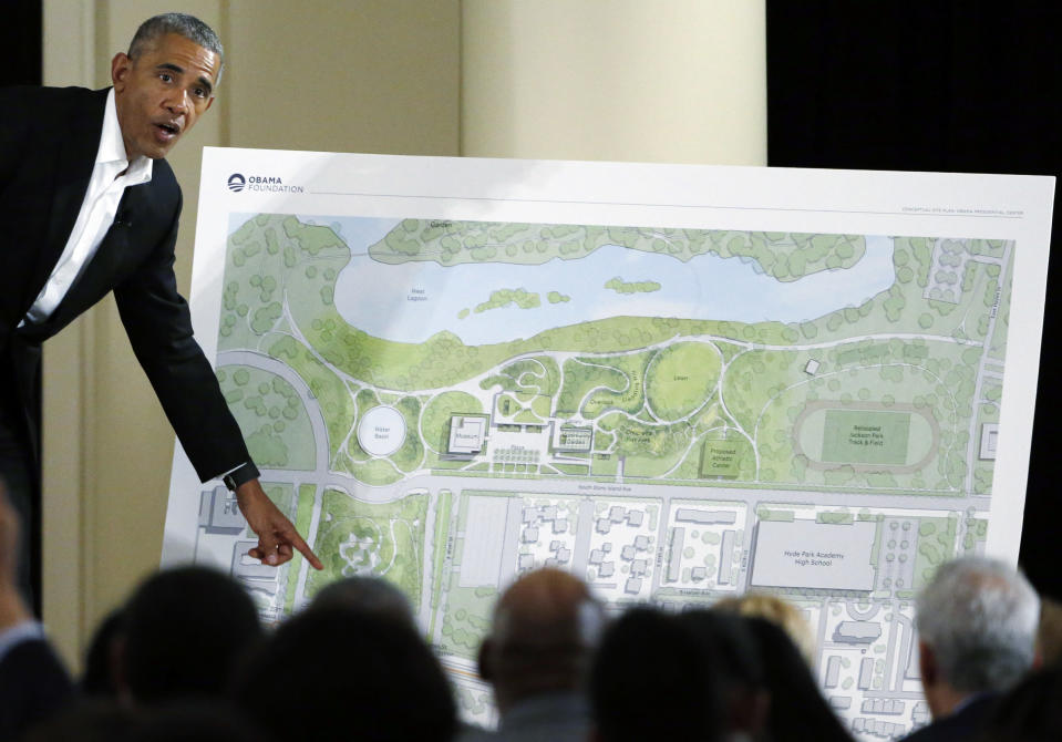 FILE - In this May 3, 2017, file photo, former President Barack Obama speaks at a community event on the Presidential Center at the South Shore Cultural Center in Chicago. Former President Barack Obama's presidential center will move another step closer to its brick-and-mortar future when ground is broken next week after years of reviews, other delays and local opposition. (AP Photo/Nam Y. Huh, File)