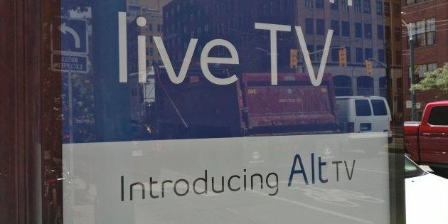 A sign advertising Bell Media's Alt TV service on a street on Toronto on Aug. 16, 2017.