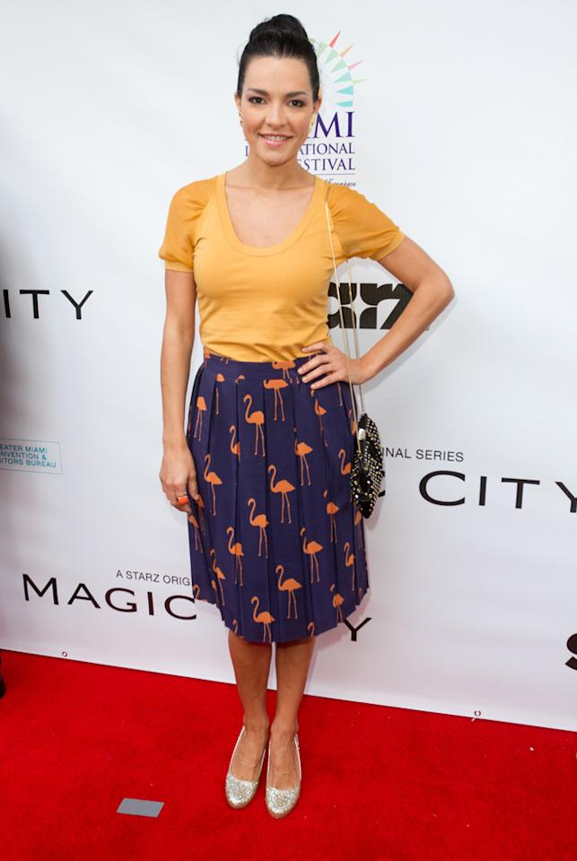 "Candela Ferro attends the ""<a target=""_blank"" href=""http://tv.yahoo.com/magic-city/show/46996"">Magic City</a>"" premiere at Colony Theater on March 4, 2012 in Miami Beach, Florida."