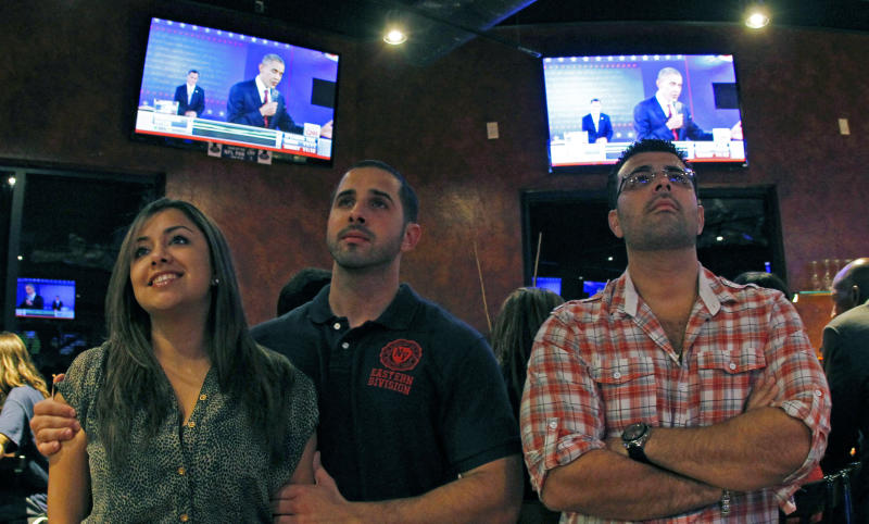 Xavier Marrufo, right, and friends, all supporters of President Barack Obama watch a televised debate between Republican presidential candidate and former Massachusetts Gov. Mitt Romney, and President Barack Obama, Tuesday, Oct. 16, 2012, in Miramar, Fla. (AP Photo/Alan Diaz)