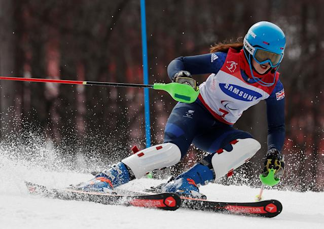 Alpine Skiing - Pyeongchang 2018 Winter Paralympics - Women's Slalom - Visually Impaired - Run 2 - Jeongseon Alpine Centre - Jeongseon, South Korea - March 18, 2018 - Millie Knight of Britain. REUTERS/Paul Hanna