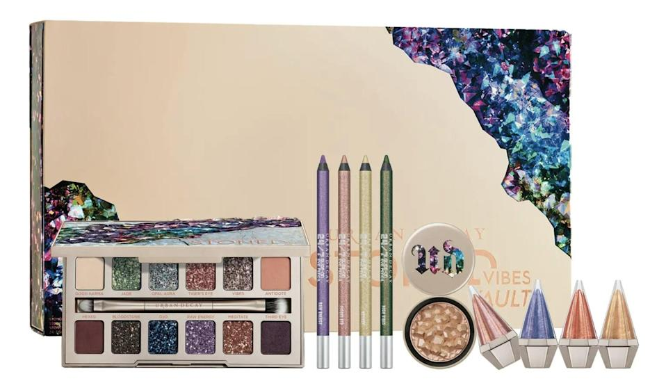 <p>The <span>Urban Decay Stoned Vibes Vault Set</span> ($195) is perfect for those who love to experiment and get creative with color. It comes with the Stoned Vibes eyeshadow palette, four full-size 24/7 Glide-On eyeliner pencils, a full-size Stoned Vibes Multifaceted highlighter, and four full-size Stoned Vibes Multidimensional lip glosses. </p>