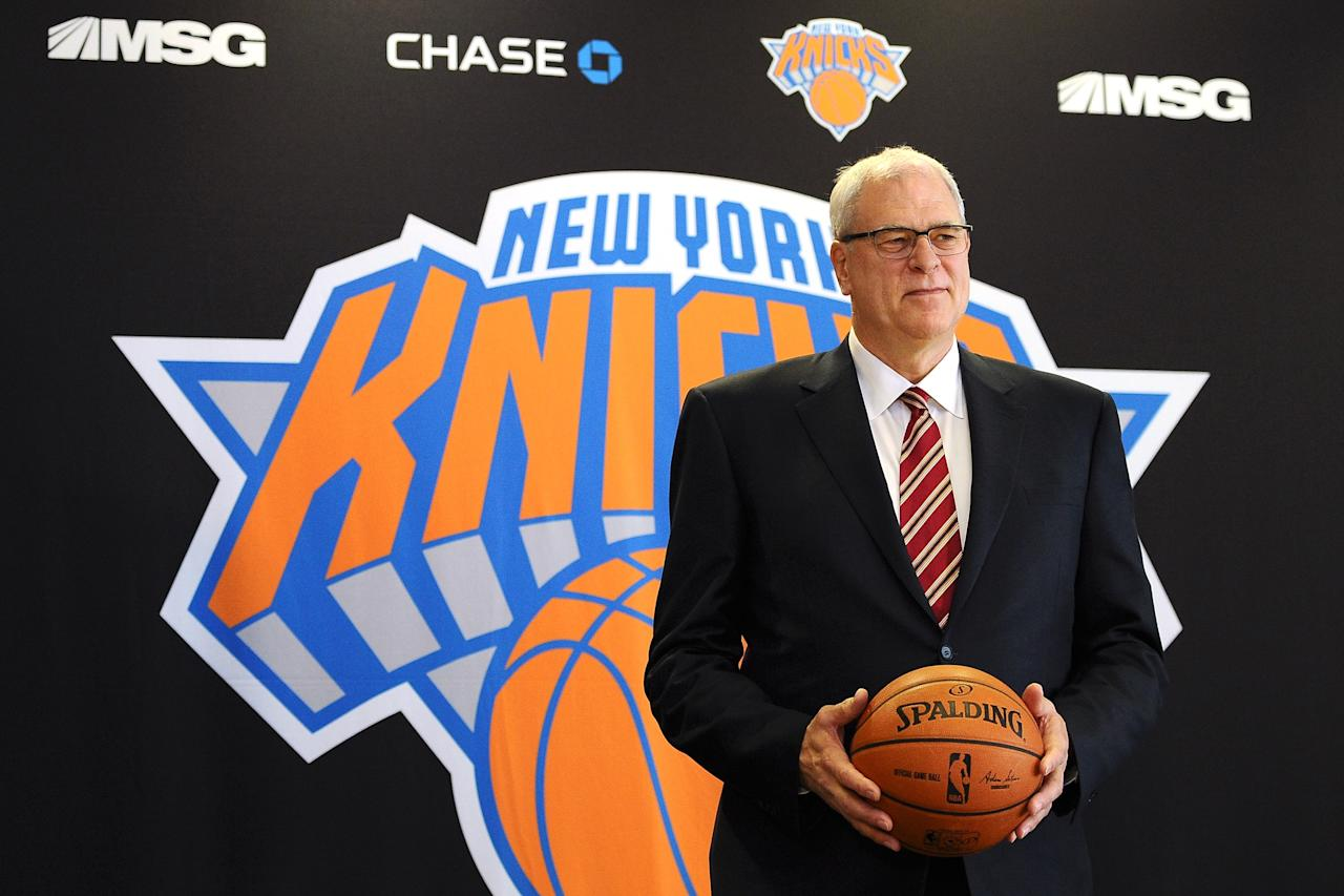 NEW YORK, NY - MARCH 18: Phil Jackson stands for photos during his introductory press conference as President of the New York Knicks at Madison Square Garden on March 18, 2014 in New York City. (Photo by Maddie Meyer/Getty Images)
