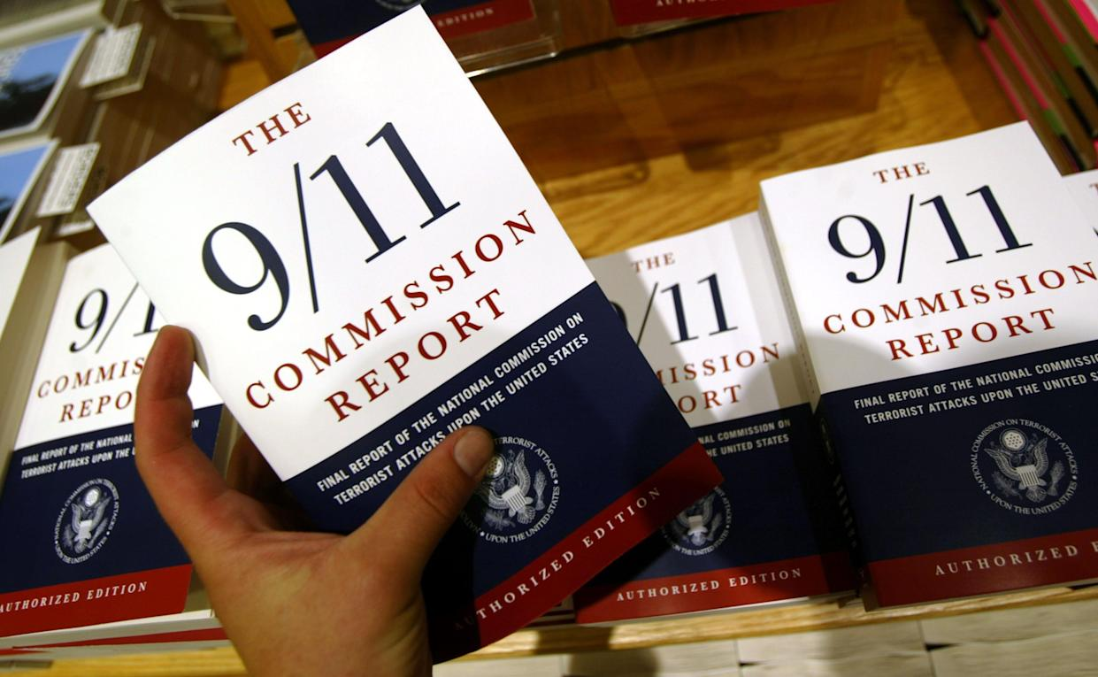"""Copies of """"The 9/11 Commission Report"""" for sale at Borders Books in New York City in 2004. (Mario Tama/Getty Images)"""