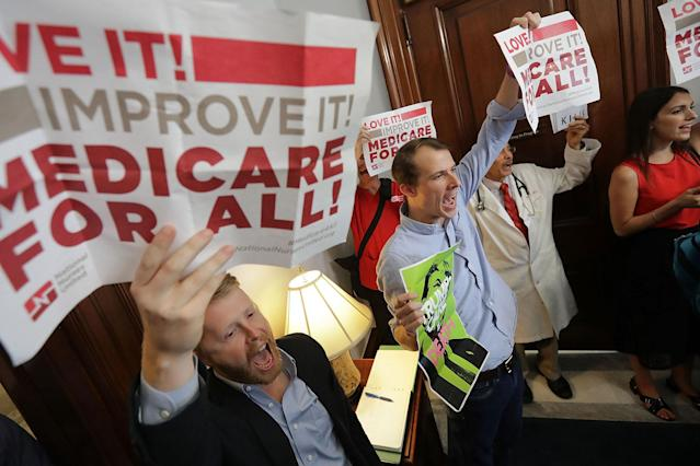 "<p>Demonstrators from Texas sit on the ground and chant, ""Kill the bill, kill the bill,"" inside the offices of Sen. Ted Cruz while protesting against health care reform legislation in the Russell Senate Office Building on Capitol Hill July 10, 2017 in Washington, D.C. More than 100 people from across the country were arrested during the protest that was organized by Housing Works and Center for Popular Democracy. (Photo: Chip Somodevilla/Getty Images) </p>"