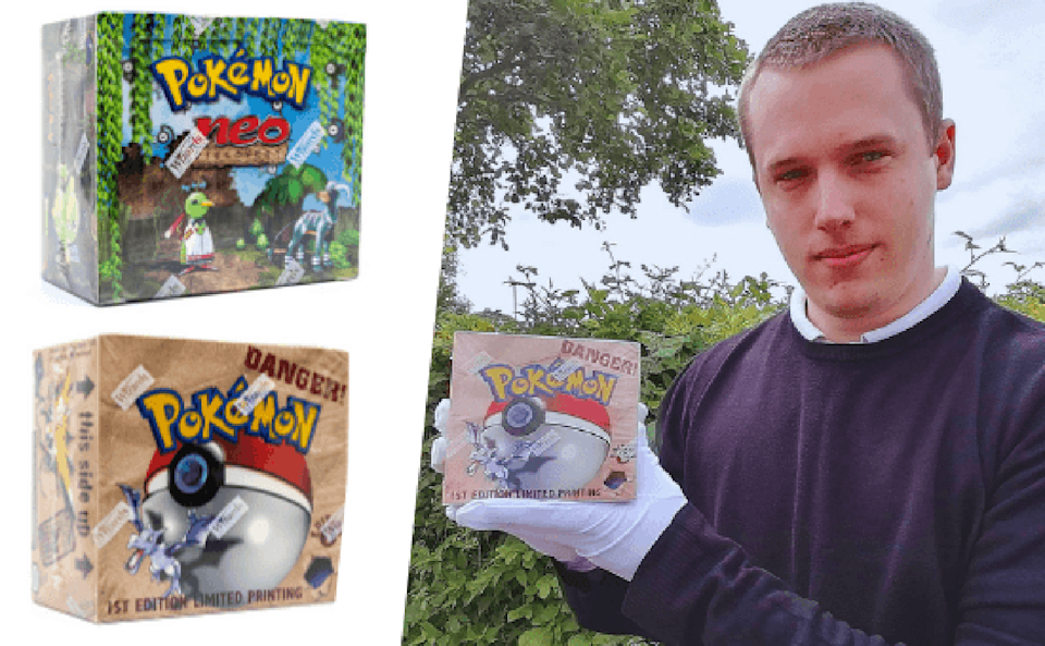 David Wilson-Turner, head of the Toy Department at Hansons, pictured with boxes of Pokemon cards.