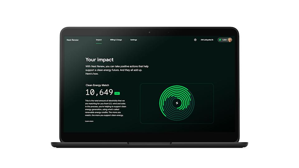 A sample of the Monthly Impact Report from Google's new Nest Renew Program on a laptop screen.