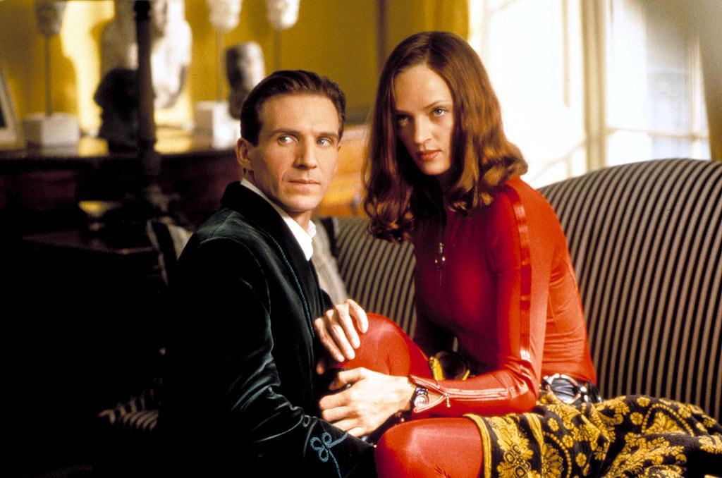 "In 1998's ""The Avengers,"" Uma Thurman's and Ralph Fiennes' characters started their affair in the same way many couples do in real life: by working together. The British special agents fell in love while on assignment to defeat an evil scientist trying to control the planet's weather. A romantic tale for the ages, right? ©Warner Bros/Courtesy Everett Collection"