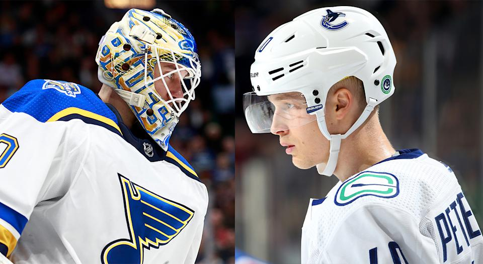 St. Louis Blues netminder Jordan Binnington still doesn't seem to be over the fact Vancouver Canucks forward Elias Pettersson was named the NHL's top rookie last season. (Getty Images)