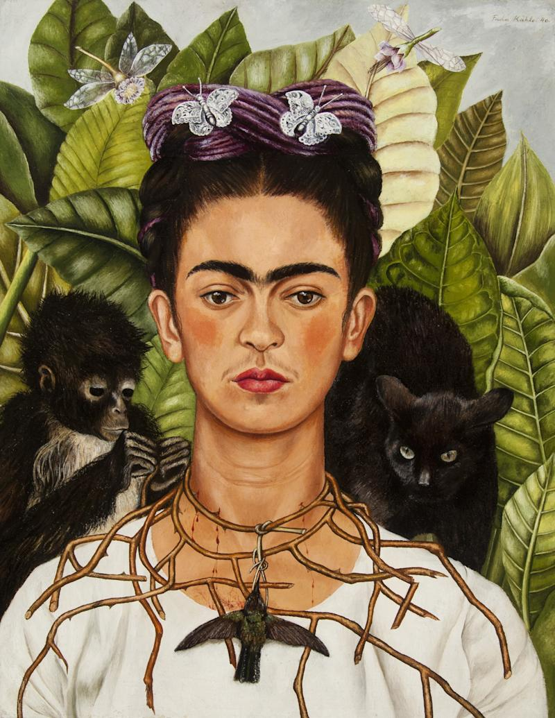 Self‑Portrait with Hummingbird and Thorn by Frida Kahlo. On view at the MFA, Boston.