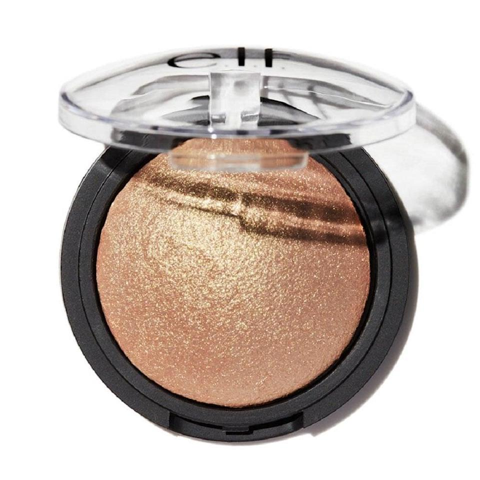 <p>This <span>E.L.F. Cosmetics Baked Highlighter</span> ($8) is infused with vitamin E and hydrating jojoba, rosehip, sunflower, apricot, and grape oils to nourish your skin.</p> <p>Not only do I use this as a highlighter, it's a really pretty eye shadow too. It's one of those products I can keep in my purse for easy touch-ups.</p>