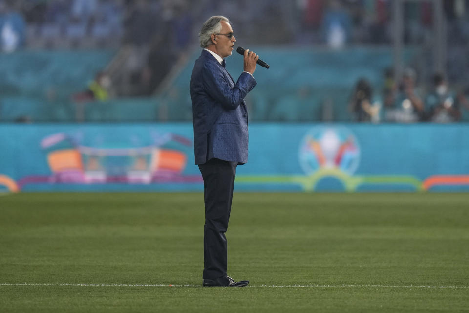 Italian tenor Andrea Bocelli performs prior to the Euro 2020, soccer championship group A match between Italy and Turkey, at the Rome Olympic stadium, Friday, June 11, 2021. (AP Photo/Alessandra Tarantino, Pool)