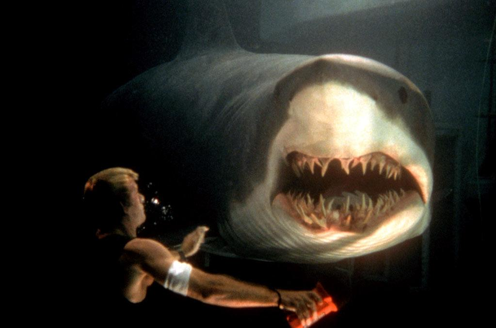 """<a href=""http://movies.yahoo.com/movie/deep-blue-sea/"">Deep Blue Sea</a>"" (1999)<br>DBS features a shark we'd like to see in a number of movies: the one who perfectly times his strike to cut off the verbosity of a main character delivering a rambling, grandiloquent speech. In this example, Samuel L. Jackson is the bombastic speech-maker in question who, while trying to fire up his team, gets swallowed up by these scary smart Mako sharks."